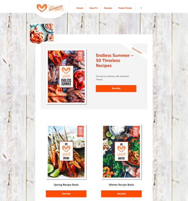 Love Australian Prawn campaign recipe books
